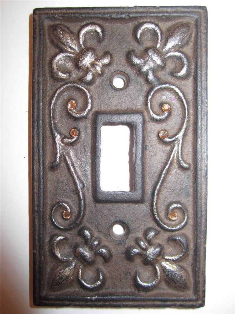 Cast Iron Fleur De Lis Rhinestone Light Switch Plate Cover Rustic Brown Gold Covers