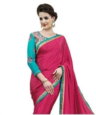 Crepe Jacquard Saree with Blouse | I found an amazing deal at fashionandyou.com and I bet you'll love it too. Check it out!