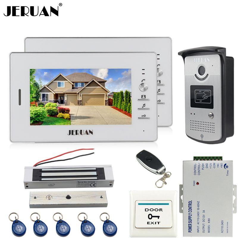 Jeruan New 7 Inch Lcd Video Door Phone Entry Intercom System Kit 2 Monitor Waterproof 700tvl Rfid Access Ir Night Vision C Intercom Video Door Phone Protection