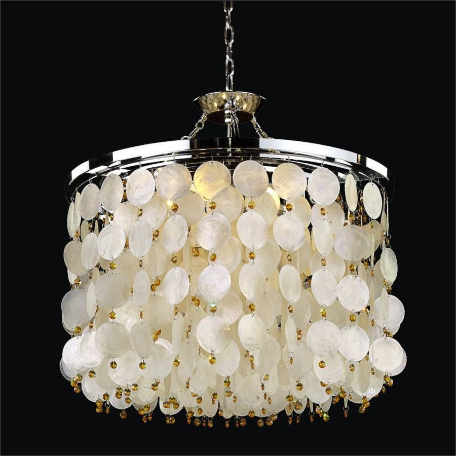 50+ Capiz Shell Chandeliers Beachfront Decor