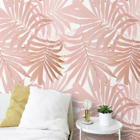 Removable Wallpaper Palm Leaves Peel And Stick Wallpaper Blush Etsy Tropical Wallpaper Peel And Stick Wallpaper Blush Wallpaper