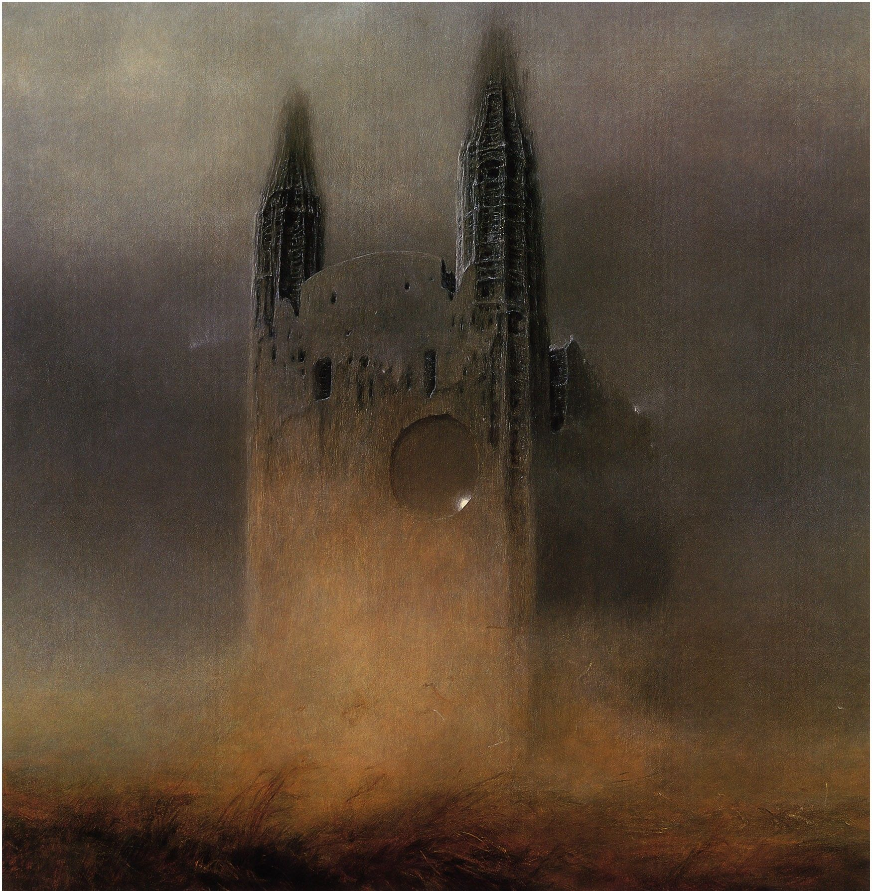 Zdzisław Beksiński, Artwork, Dark, Buildings, Old, Towers