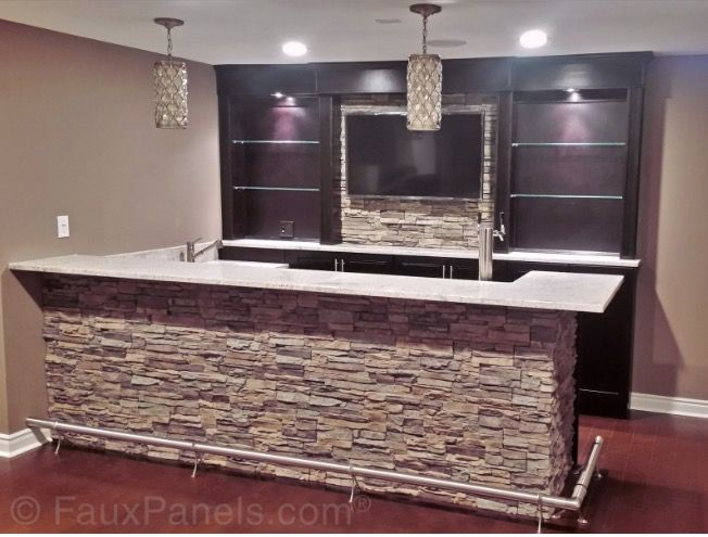 Like the built ins behind the bar basement pinterest for Cocinas con piedras decorativas