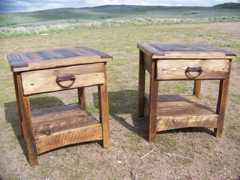 Rustic end table - country, primitive, weathered wood ...