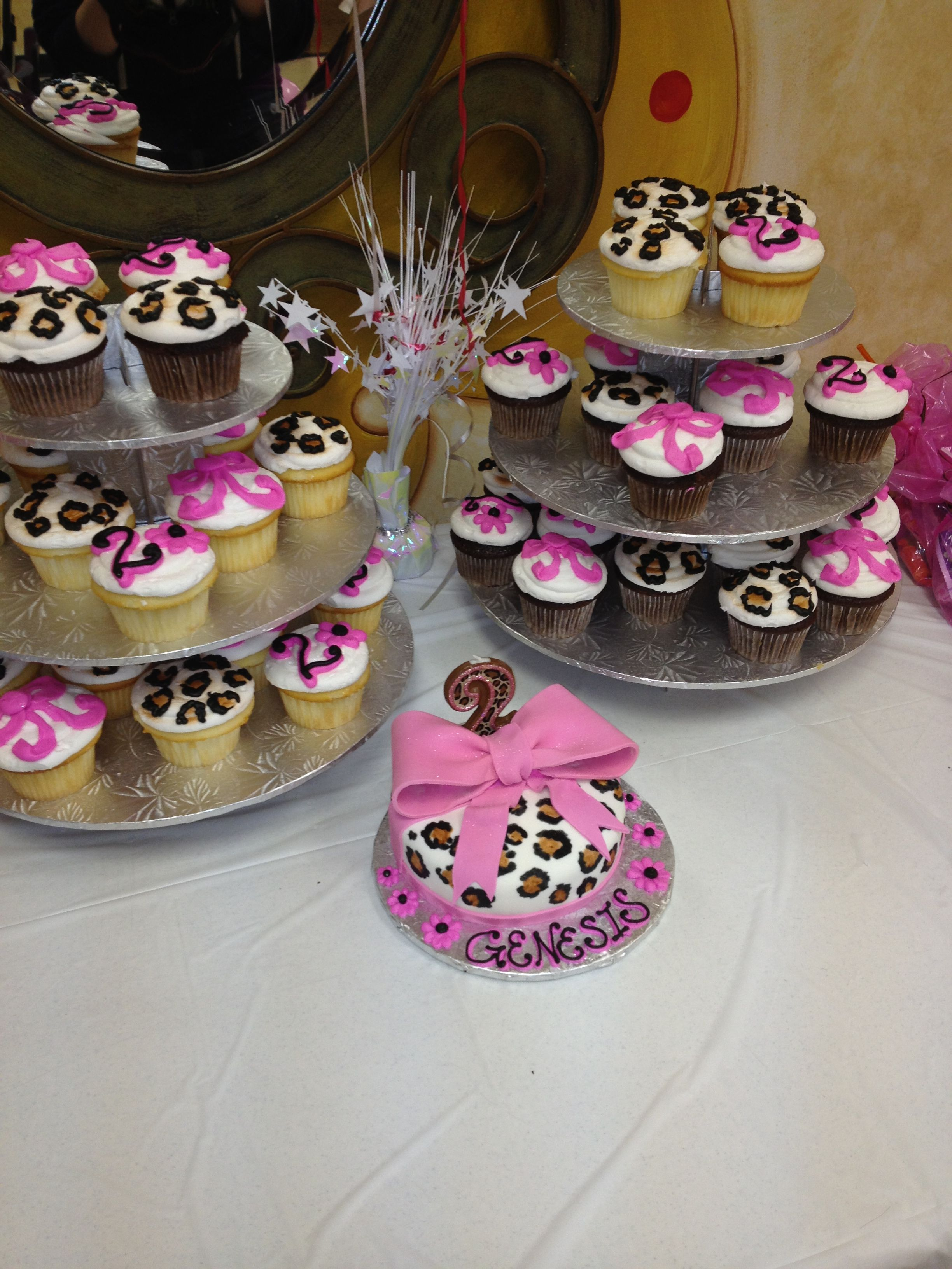 Leopard Birthday Theme My Daughters 2nd Birthday Cake And Cupcakes
