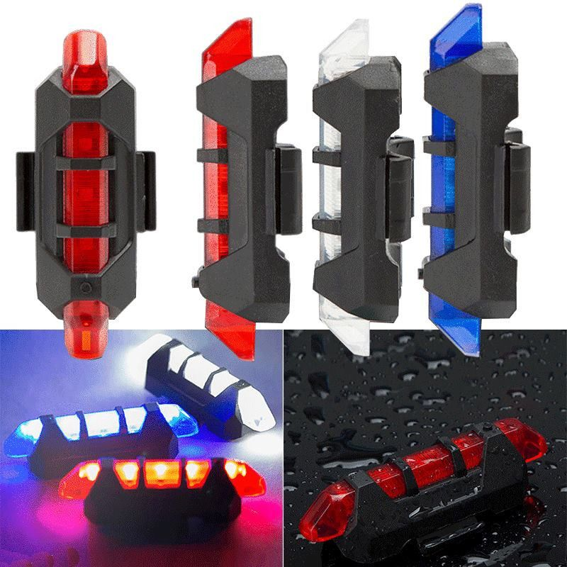 Cycling 5LED USB Rechargeable Bike Bicycle Tail Warning Light Rear Safety Lamp