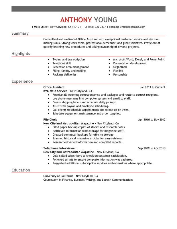 An office assistant resume has to highlight your organizational