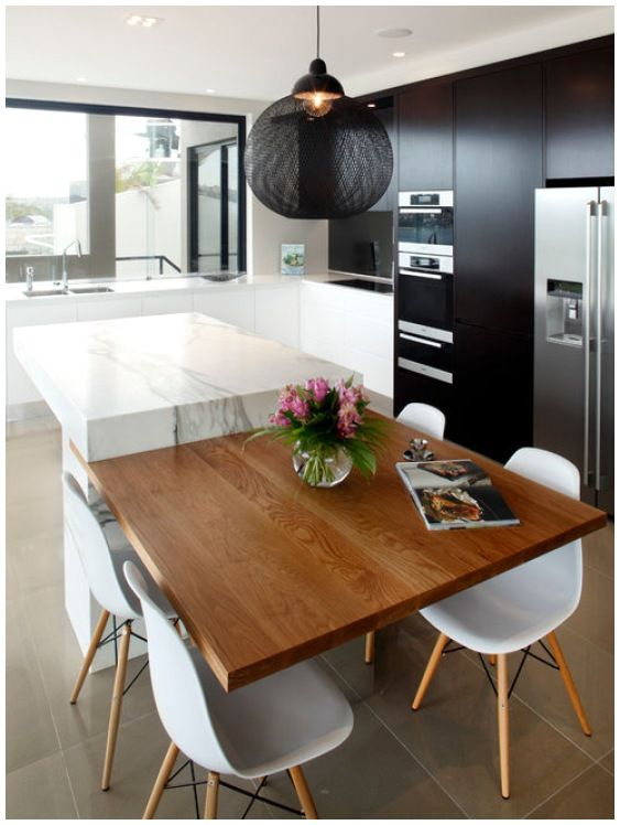 Kitchen Island Attached Table
