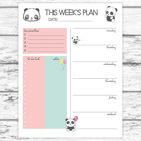 graphic relating to Cute Weekly Planner Printable called Panda Weekly Planner Printable Weekly Planner Adorable Weekly