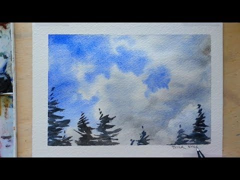 How To Paint Clouds With Just 2 Colors Watercolor Quick And Easy