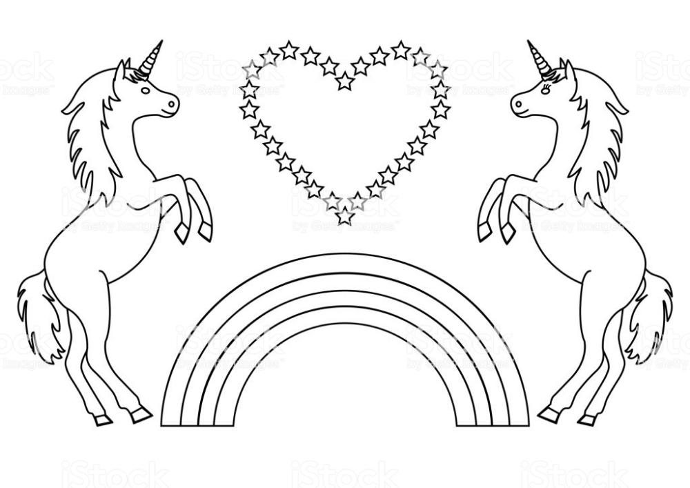 kleurplaat unicorn met regenboog zoeken