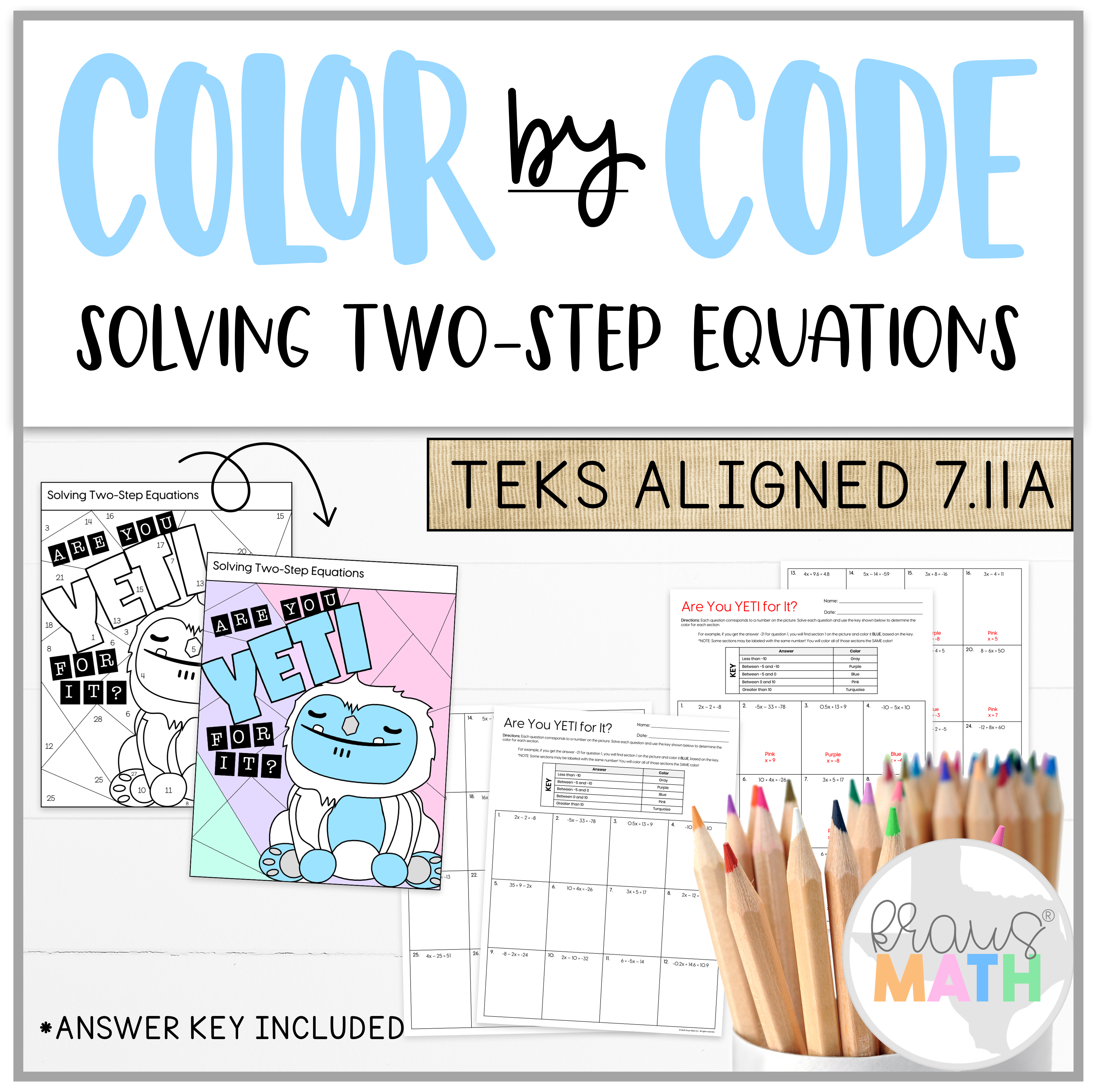 Are You Yeti For It Two Step Equations Color By Number