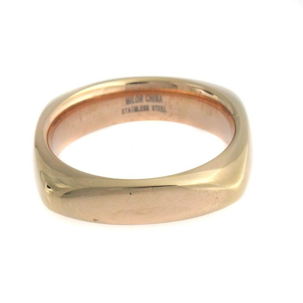 Simona Collini 18K Yellow Gold GP Stainless Square Silk Fit Ring  Size 7 #SimonaCollini #Band #qvcx