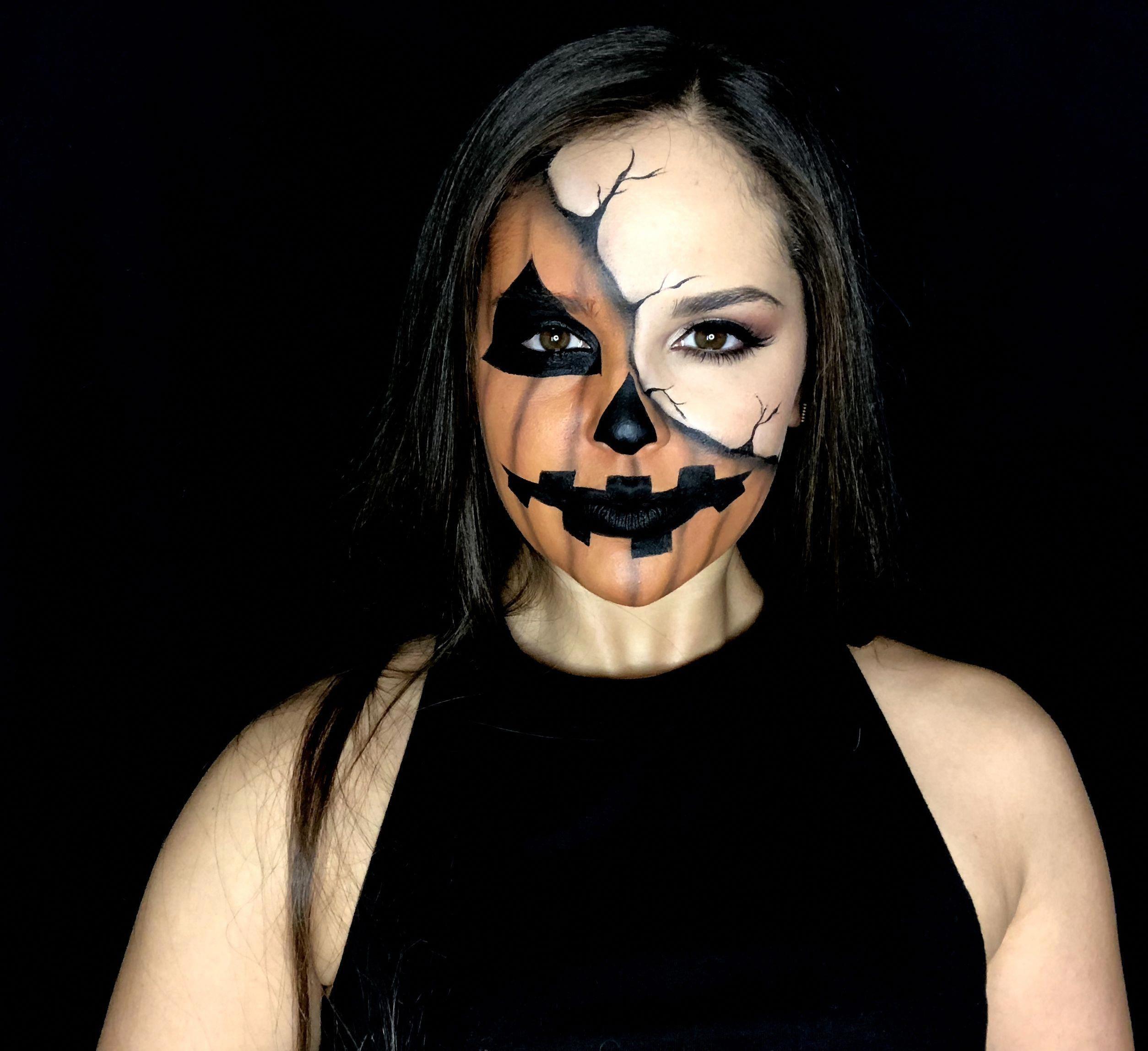 Half Pumpkin Face Halloween makeup look makeuplooks2017