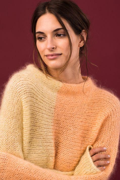 Kostenlose Anleitung: Zweifarbiger Pullover quergestrickt - Initiative Handarbeit #crochetbabycardigan