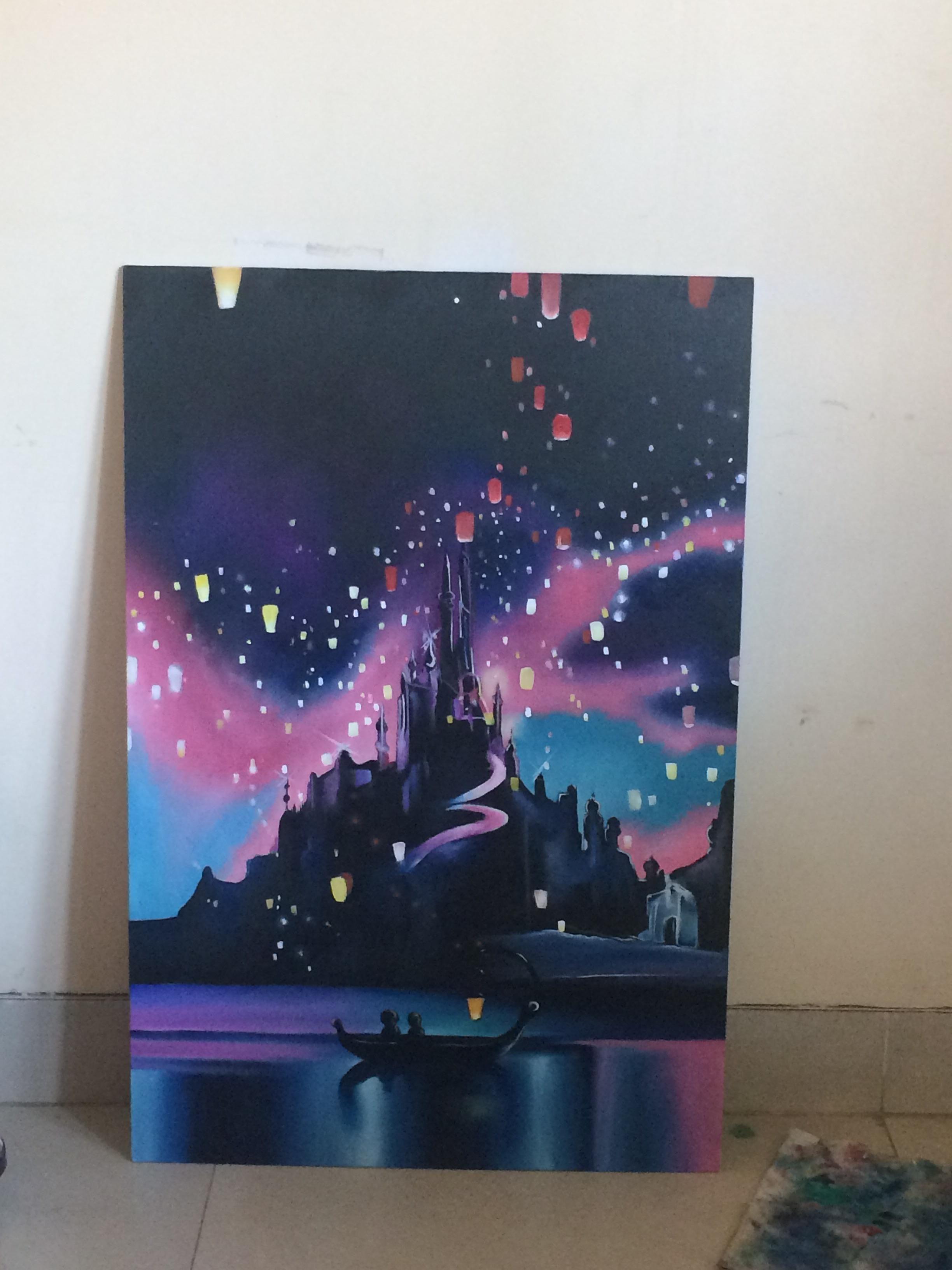My Version Of The Tangled Lantern Scene Still Needs Lights For The Lantern Flames Disney Canvas Art Tangled Painting Canvas Art Painting