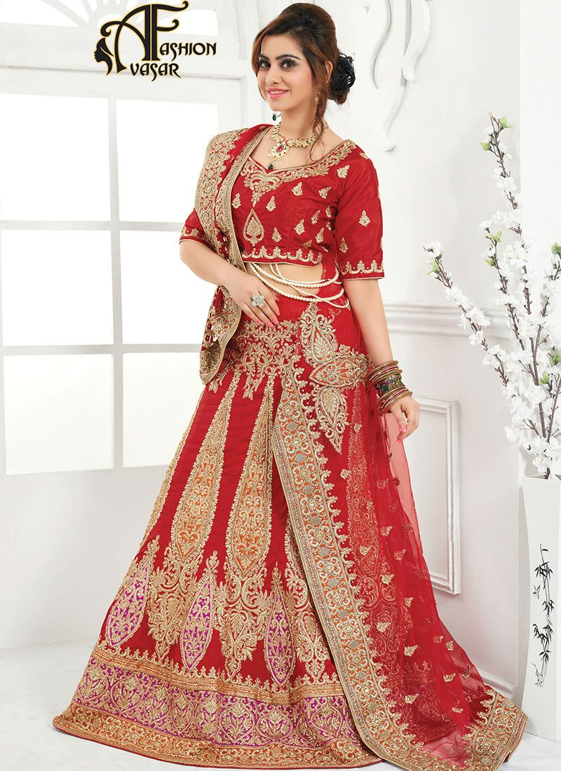 636087b8057 bridal lehengas in blood red color.Appear stunningly stunning with this  Deep Scarlet Raw Silk Unstitched Lehenga Choli. This attire is nicely made  with ...