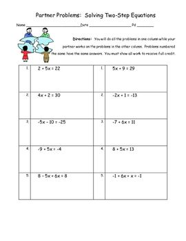 Solving Two Step Equation Engaging Partner Activity | Two ...