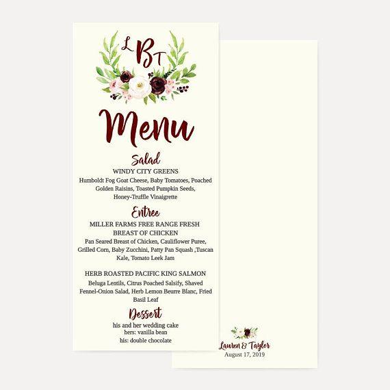 Marsala Watercolor Floral Wedding Party Menu Template 4x8 wedding - party menu template