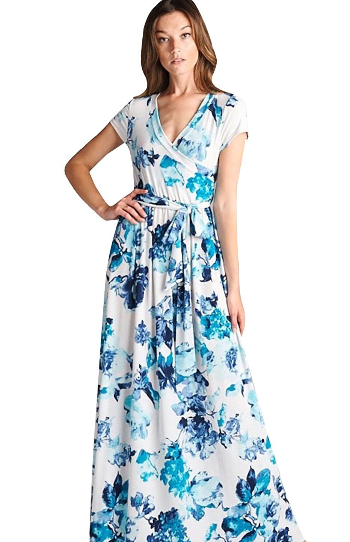 Bon Rosy Women 39 S Short Sleeve V Neck Floral Maxi Bohemian Wrap Dress At Amazon Women S Clothing Store Best Casual Dresses Dresses Beautiful Maxi Dresses [ 1440 x 932 Pixel ]