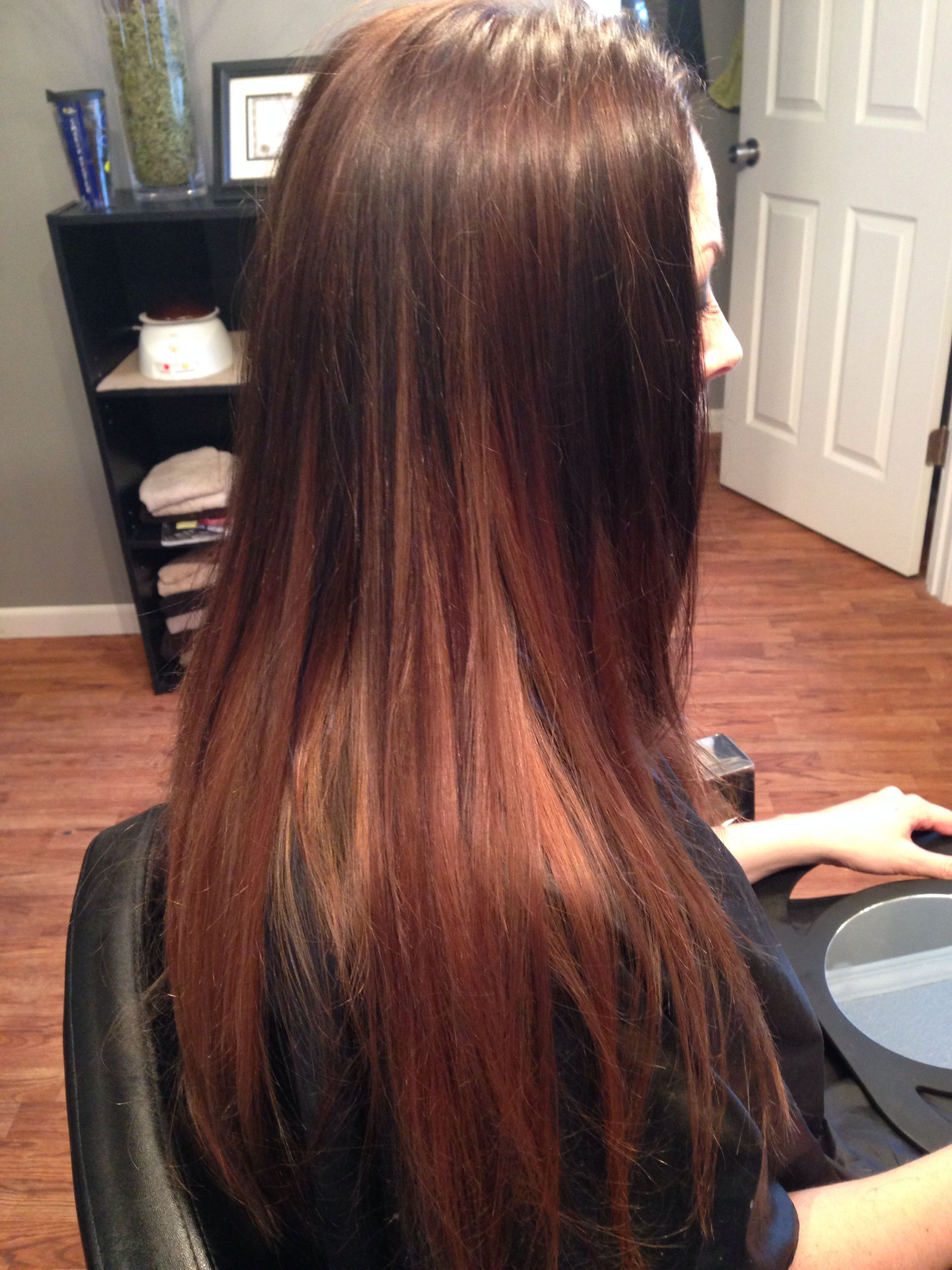 Brown Carmel with subtle red/blonde ombre THIS but with ...  Brown Carmel wi...