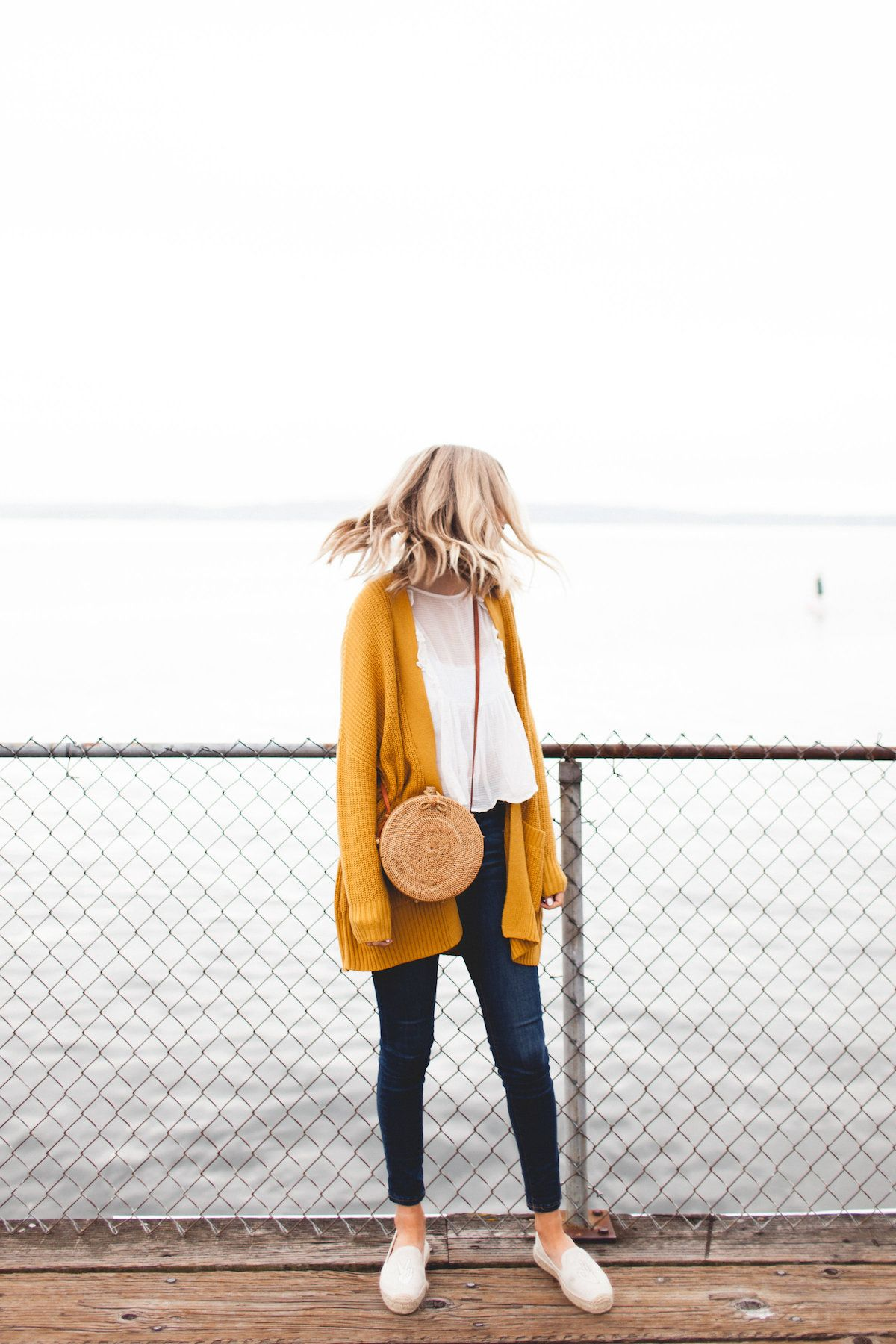 pin: imogennaomih |this might look super cute with a red leather bag instead of the woven, but still with the yellow cardigan and jeans, neutral top and neutral shoes|