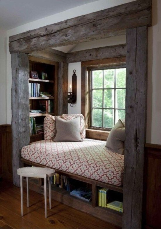 Fensterbank Innen Einbauen Dekokissen Matratze Nische Bucherregale