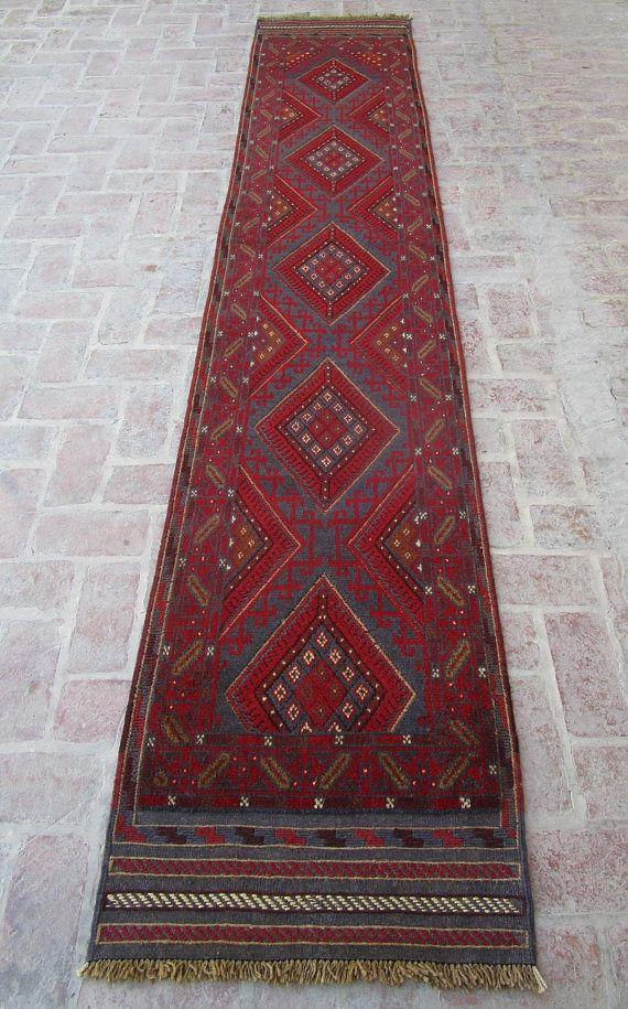 Size 12'3 x 2'4 feet & 374 x 71 cm, Afghan Tribal Rug