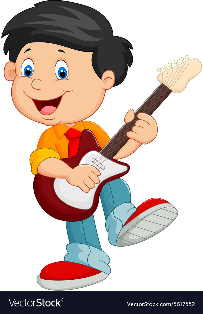Illustration Of Cartoon Child Play Guitar Download A Free Preview Or High Quality Adobe Illustrator Ai Eps Pdf And Playing Guitar Kids Crafts Masks Cartoon