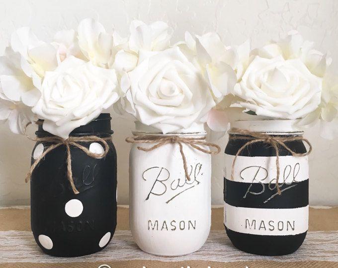 Distressed Mason Jars Rustic Home Decor Painted Jars Jar | Etsy #paintedmasonjars