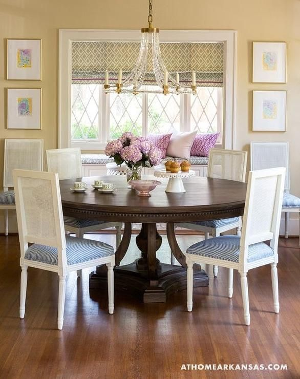 Traditional Pastel Dining Room In Shades Of Blue Yellow Green And Pink Design