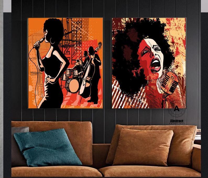 Jazz Wall Art Music Canvas Print African Woman Musical Etsy In 2020 Music Canvas Jazz Wall Art Jazz Club Decor