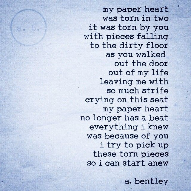 """A poem called """"Paper Heart."""" #poetry #poems #depressed #love ..."""