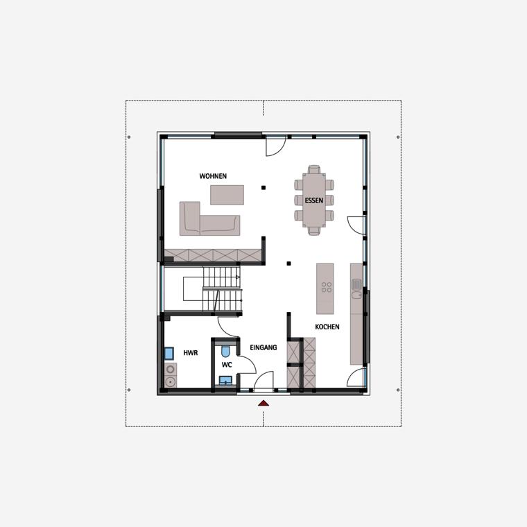 HUF Fachwerkhaus Grundriss Erdgeschoss MODUM 810 (с