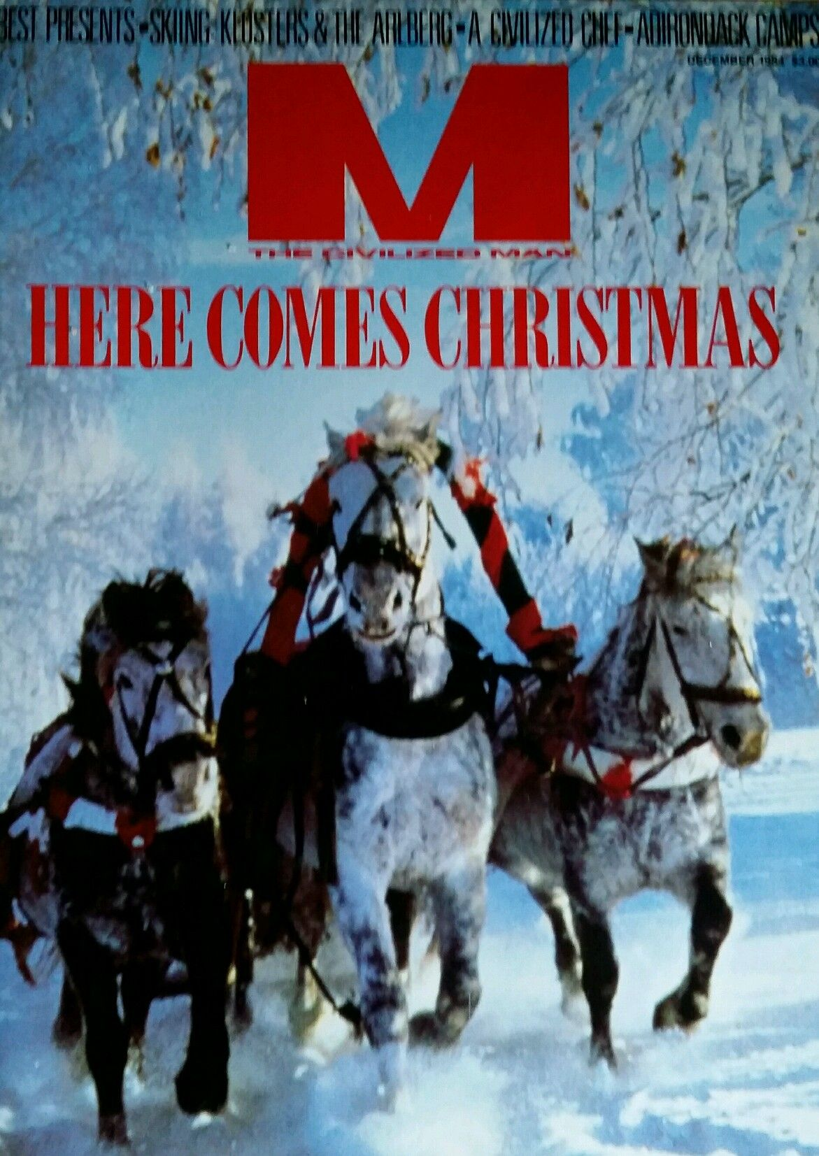 'M' was a short-lived men's lifestyle magazine published between 1983 and 1991. This cover is from the magazine's Christmas 1984 issue.