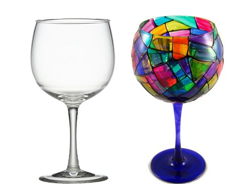 Diy wine glasses india art n design diy hand painted for Diy painted wine glasses