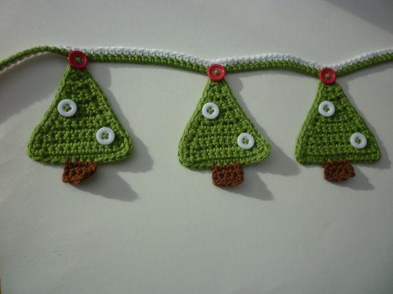 Hand Crochet Christmas Tree Bunting Christmas Crochet Crochet Christmas Trees Crochet