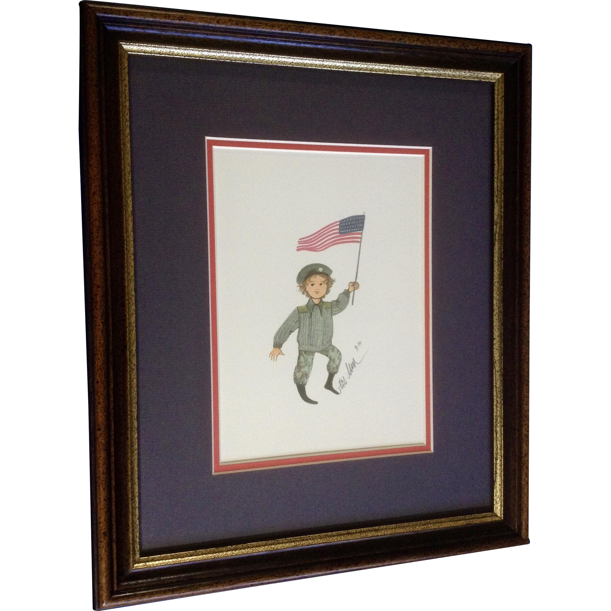 469416c24aa31 P Buckley Moss Army Boy Holding American Flag Rare Limited Edition ...