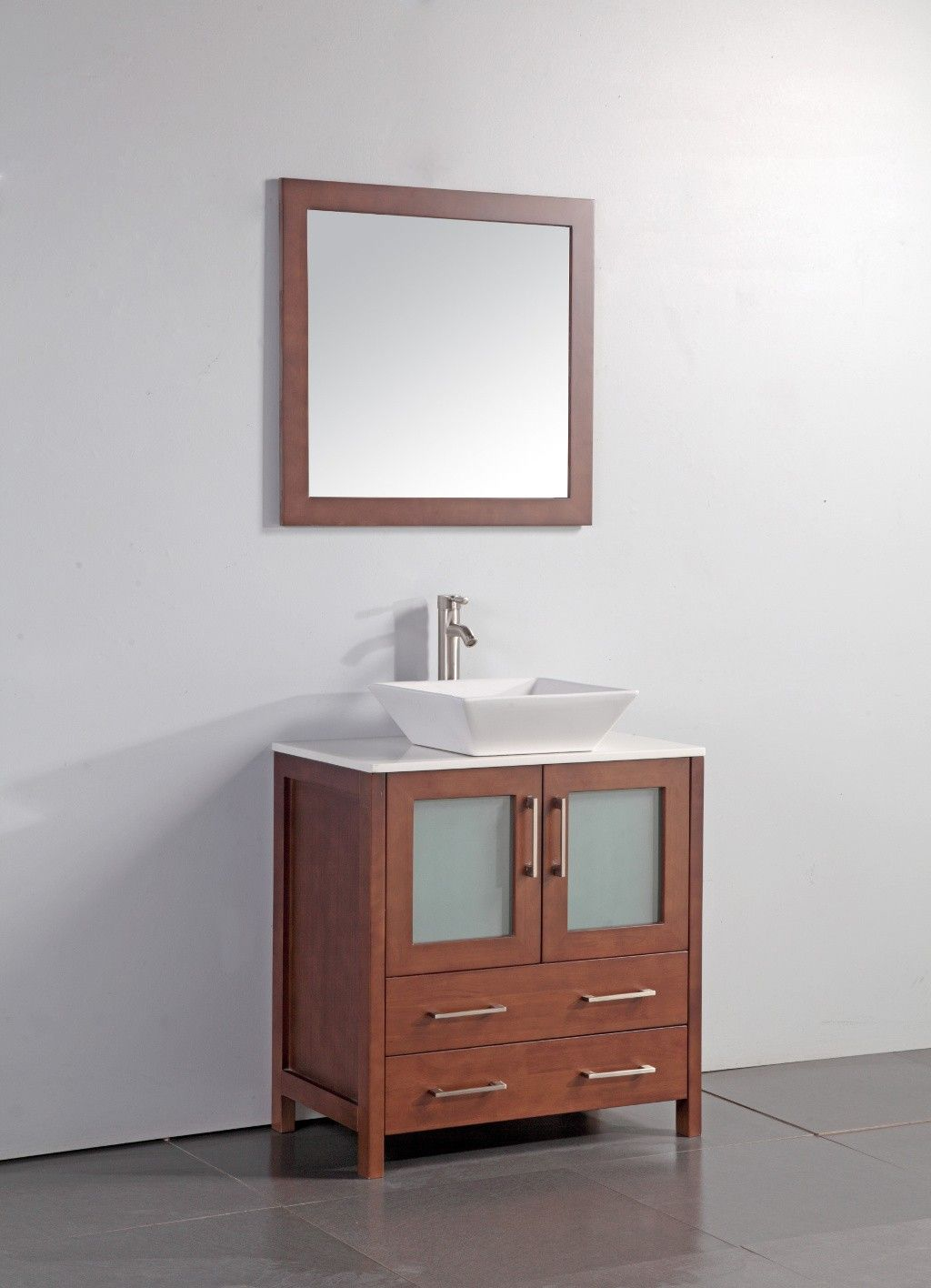 30 Inch Brown Vanity Top Vessel Sink Mirror Wa7830c Bathroom
