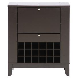 """Flip-top wine cabinet with bottom and side bottle storage. Front opens to reveal a hidden compartment.  Product: Wine cabinetConstruction Material: WoodColor: Espresso Features: Bottom and side storage hold up to 18 bottles of wineFront opens to reveal a hidden compartmentSide shelves Dimensions: 37.33"""" H x 32.2"""" W x 13.5"""" DNote: Assembly required"""