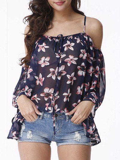 Cold Shoulder Floral Print Chiffon Blouse