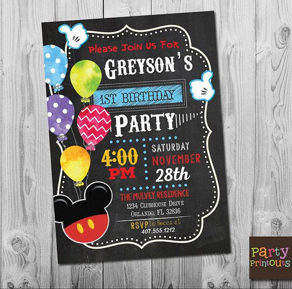 Mickey Mouse 1st Birthday Invitation Printable Mickey Clubhouse Party  Invitations, Boy Girl First Second Third