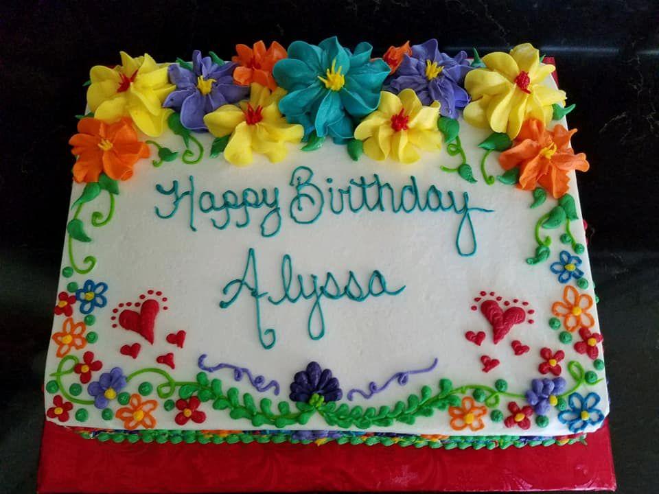 1 4 Sheet Floral Cinco De Mayo Birthday Cake In 2020 Birthday