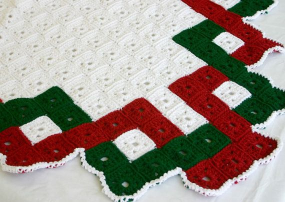 Christmas afghan granny square crochet lap blanket traditional quilt ...