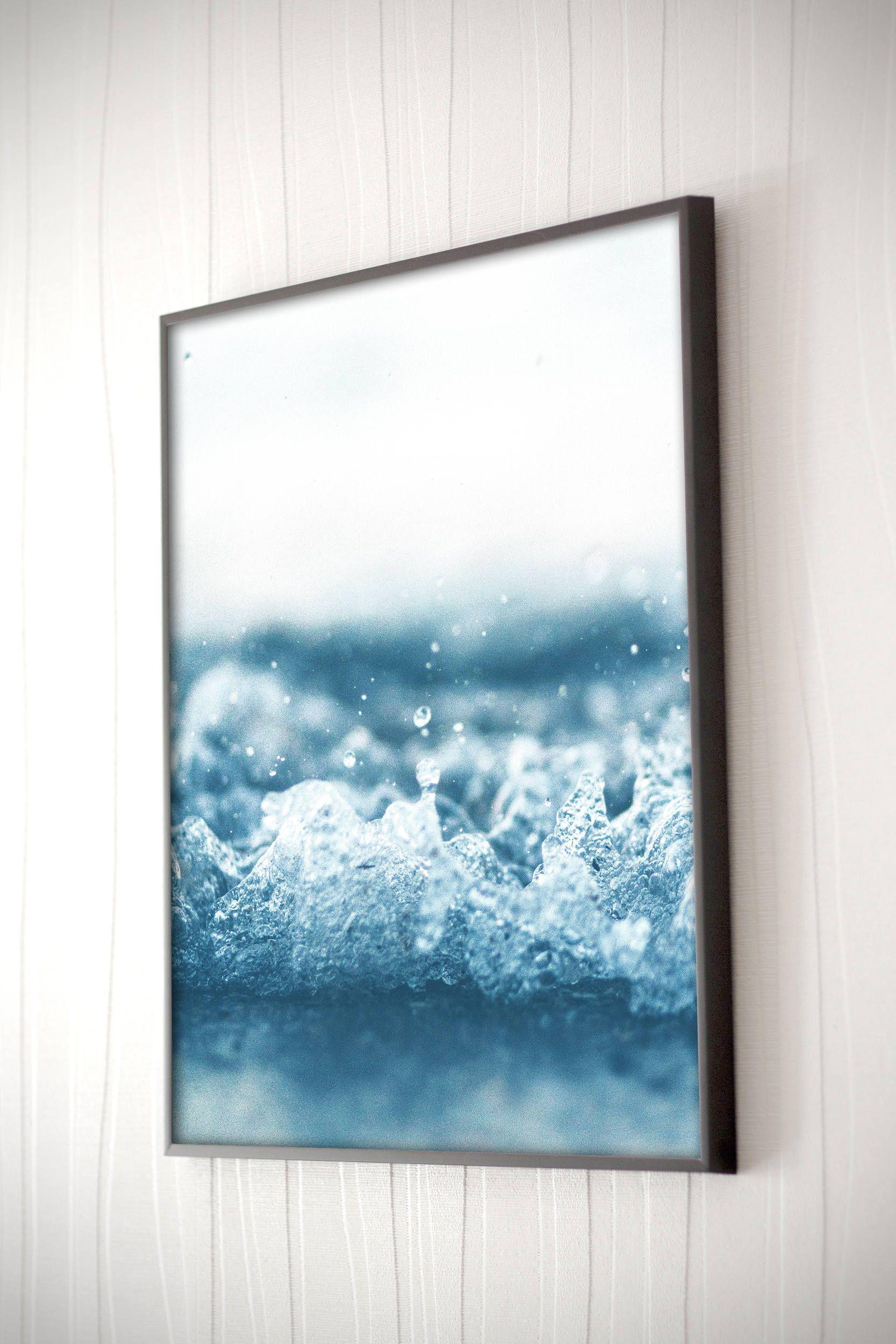 awesome Ocean Wall Decor Part - 7: Ocean Splash Print - Ocean Wall Art - Blue Wall Art - Coastal Home Decor