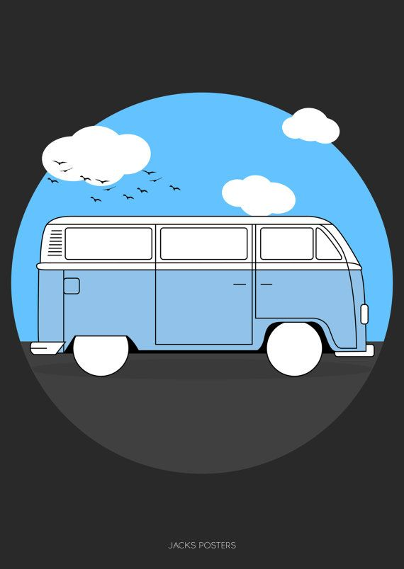 Camper Van Poster A3 Custom colours available. by JacksPosters