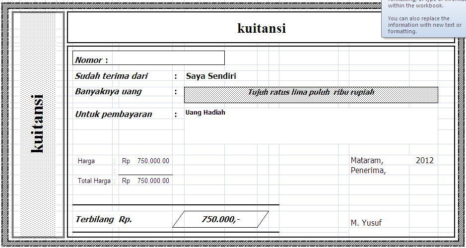 Download Kwitansi Sederhana File Excel Kelas tk