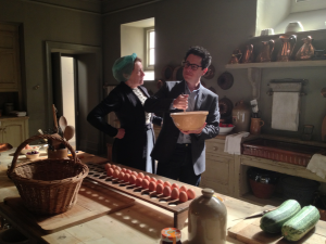 JJ Abrams with Mrs Hughes from Downton Abbey!  What is he doing in her kitchen??