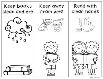 Book Care Rules Coloring Page And Bookmarks Free Book Care Library Bookmarks Preschool Library