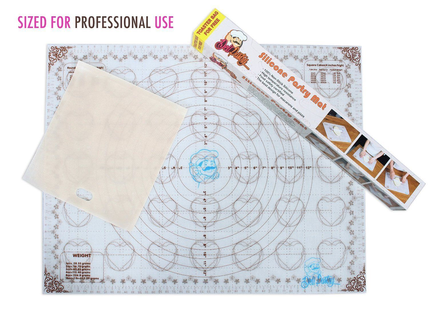New Large Deli Professional Silicone Baking Mat with Measurements ...